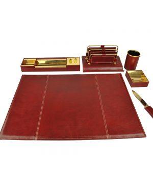 Stolový kancelársky set v tmavo bordovej farbe - Kompletný set