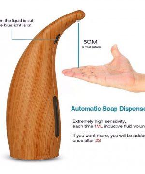 Automatický dávkovač mydla a gélu na ruky s textúrou dreva