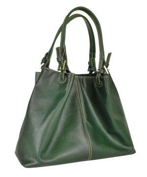 Luxusná veľká kožená kabelka SHOPPER, ručne farbená, tmavo zelená