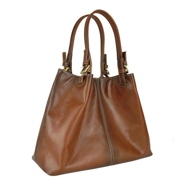 Nákupná kožená kabelka v hnedej farbe