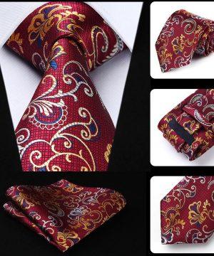 Prepracovaná kravata a vreckovka - sada s bordovým vzorom