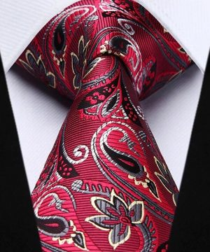 Spoločenská kravata a vreckovka - sada s červeným motívom