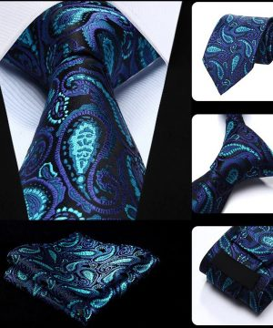 Spoločenská kravata a vreckovka - sada s modrým vzorom