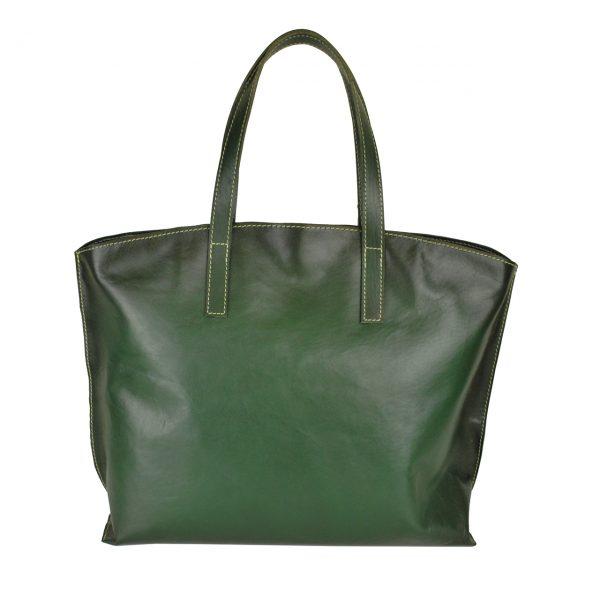 Luxusná kožená kabelka veľká na plece SHOPPER BAG, ručne farbená, tmavo zelená