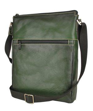 Luxusná kožená taška crossbody č.8681, ručne tieňovaná, tmavo zelená farba