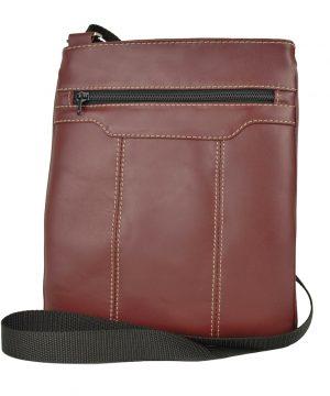 Luxusná kožená taška s dekoračným prešívaním v bordovej farbe