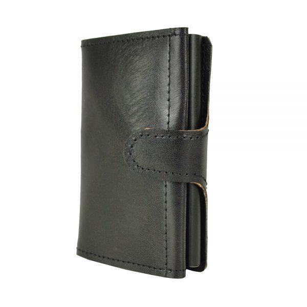 Kožená peňaženka SIMPLE s RFID patentovaný mechanizmom na karty v čiernej farbe