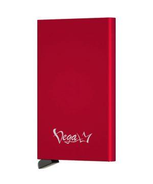 RFID inteligentné hliníkové púzdro na karty s patentovaným mechanizmom v červenej farbe, VEGALM