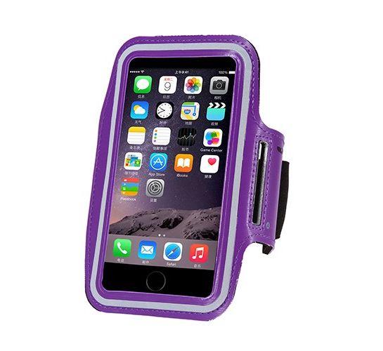Vodeodolný športový obal pre šport na iPhone 6, 6S, 7, 8, fialová farba