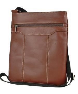 Luxusná kožená taška s dekoračným prešívaním v hnedej farbe