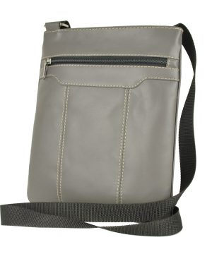 Luxusná kožená taška s dekoračným prešívaním v šedej farbe