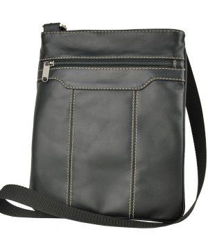 Luxusná kožená taška s dekoračným prešívaním v čiernej farbe