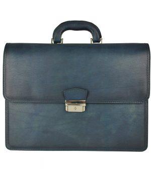 Luxusná štýlová kožená aktovka č.8041 v tmavo modrej farbe, ručne farbená a tieňovaná