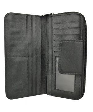 Dámska kožená peňaženka s bohatou výbavou č.8656 v čiernej farbe.