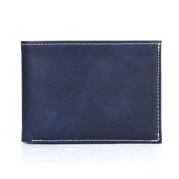 Luxusná kožená peňaženka č.8552, ručne tieňovaná v modrej farbe