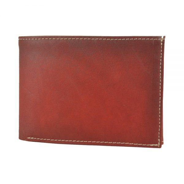Luxusná kožená peňaženka č.8552, ručne tieňovaná v červenej farbe