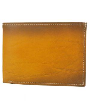 Luxusná kožená peňaženka č.8552, ručne tieňovaná v žltej farbe