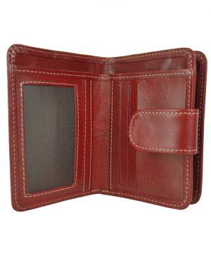 Luxusná dámska malá kožená peňaženka č.8504 v bordovej farbe