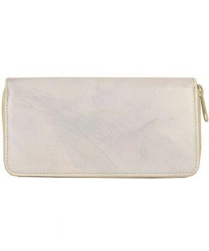 Ručne tamponovaná kožená peňaženka č.8606:2 v dúhovej šedej farbe.