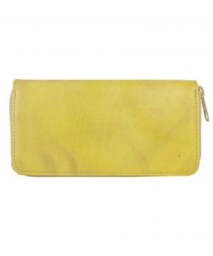 Ručne tamponovaná kožená peňaženka č.8606:2 v žltej farbe
