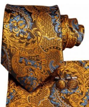 Farebná kravatová sada so vzorom - viazanka + gombíky + vreckovka