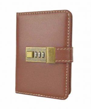 Kožený zápisník MINI s číselným zámkom v hnedej farbe