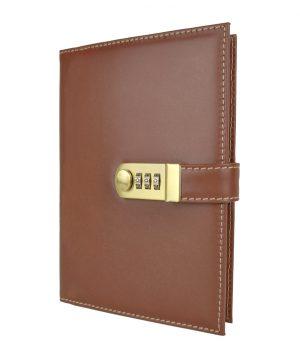Kožený zápisník XXL s číselným zámkom v hnedej farbe