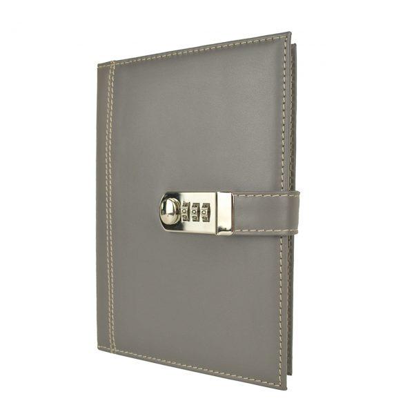 Kožený zápisník XXL s číselným zámkom v šedej farbe