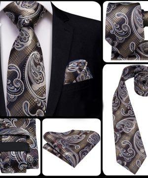 Kvalitná kravatová sada s prepracovaným vzorom - viazanka + gombíky + vreckovka