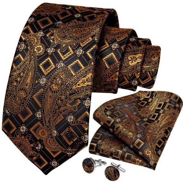 Kvalitná kravatová sada v zlato-medenej farbe - viazanka + gombíky + vreckovka