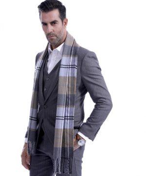 Kvalitný pánsky bavlnený šál so vzorom, rozmer 190 x 30 cm