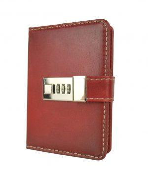 Kožený zápisník MINI ručne tieňovaný s číselným zámkom v červenej farbe