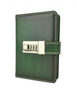 Kožený zápisník MINI ručne tieňovaný s číselným zámkom v zelenej farbe