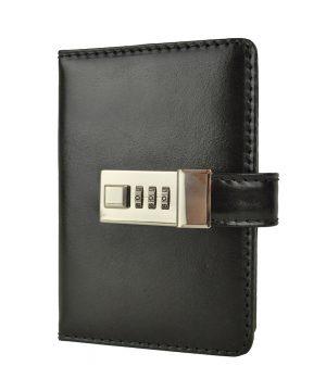 Kožený zápisník MINI s číselným zámkom v čiernej farbe