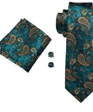 Pánska kravatová sada s tyrkysovým vzorom - viazanka + gombíky + vreckovka