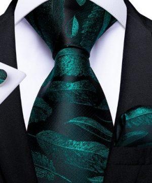 Pánska kravatová sada so zelenými lístkami - viazanka + gombíky + vreckovka