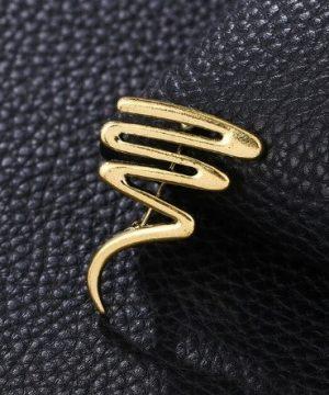 Štýlová moderná brošňa na šaty v zlatej farbe