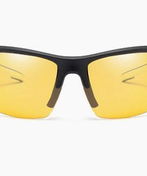 Štýlové polarizované okuliare na noc s bielo-čiernym rámom