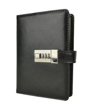 Kožený zápisník MIDDLE s číselným zámkom v čiernej farbe