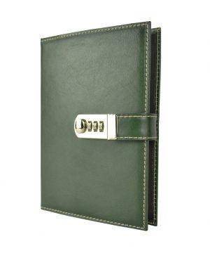 Kožený zápisník XXL ručne tieňovaný s číselným zámkom v zelenej farbe