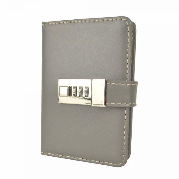 Kožený zápisník MINI s číselným zámkom v šedej farbe