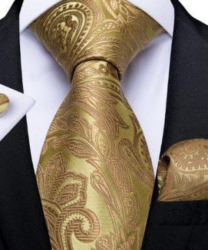 Zlatá kravatová sada so vzorom - viazanka + gombíky + vreckovka