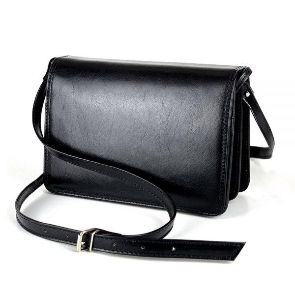 Luxusná crossbody kožená kabelka, čierna, uzatváranie - magnet