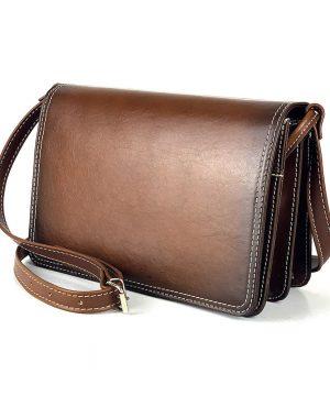Luxusná kožená kabelka Crossbody, ručne tieňovaná, svetlo hnedá, uzatváranie – magnet