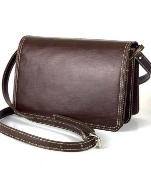 Luxusná kožená kabelka Crossbody, tmavo hnedá, uzatváranie – magnet