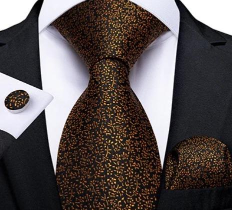 Decentný kravatový set s jemným vzorom - viazanka + gombíky + vreckovka