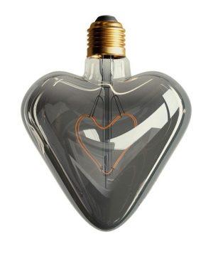 LED žiarovka v tvare srdca, dymová, E27, 150lm, 5W, Teplá biela