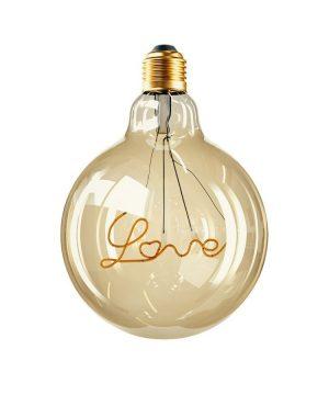 LED žiarovka s nápisom LOVE pre závesné lampy, E27, 250lm, 5W, Teplá