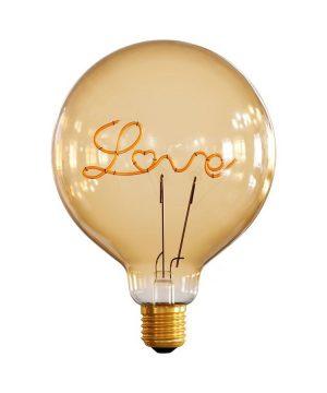 LED žiarovka s nápisom LOVE pre stolové lampy, E27, 250lm, 5W, Teplá biela, stmievateľná
