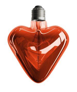 LED žiarovka v tvare srdca, červená, E27, 150lm, 5W, Teplá biela, stmievateľná